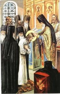 пострижение в монашество Преподобного Серафима Саровского