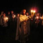 Пасхальное богослужение в монастыре. Крестный ход.